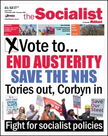 Front page of the Socialist, issue 1067