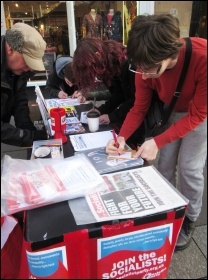 Post-election Saturday stall in Newcastle, photo Elaine Brunskill