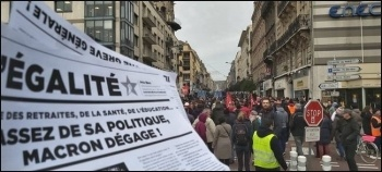 L'Egalité, the paper of Gauche Révolutionnaire, being sold on one of the demonstrations, photo by GR