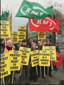 RMT and NSSN protest outside parliament against the Tory government's threat to the right to strike. 19.12.19, photo JB