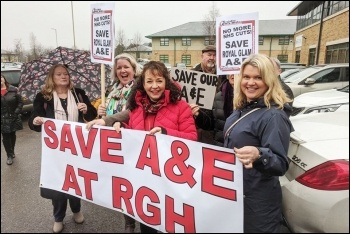 Lobby against the closure of Royal Glamorgan A&E, photo Dave Reid