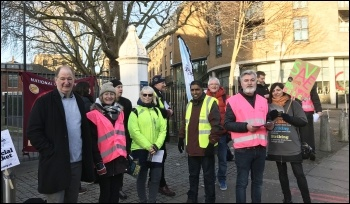Fighting government cuts: Picket line at City & Islington sixth form, London, 12.2.20, photo JB