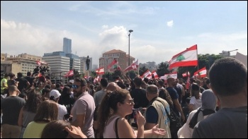 In Lebanon there's been the biggest movement of opposition to the government for at least 14 years, since the previous 'cedar revolution'. Lebanese flags have flown on the protests rather than those of sectarian militias, photo Shahen Books/CC