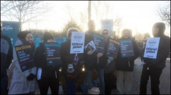 The picket line at Havering Sixth-Form College, 12.2.20, photo by Ian Pattison