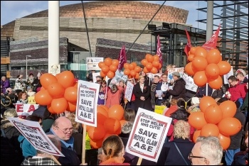 Demonstrating against the Royal Glam A&E closure outside the Welsh Assembly, 12.2.20, photo by Socialist Party Wales