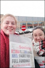 Selling the Socialist in Leicester, 13.2.20, photo by Leicester Socialist Party