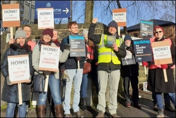 NEU strikers at Notre Dame in Leeds, 12.2.20, photo by Iain Dalton
