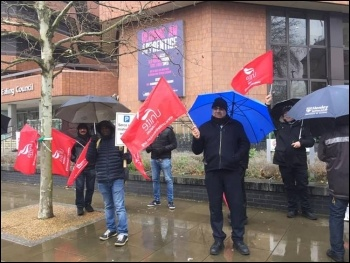 Ealing parking attendants in Unite on strike in March 2020, photo Helen Pattison