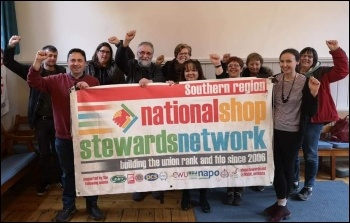 National Shop Stewards Network supporters at a meeting in Southern region