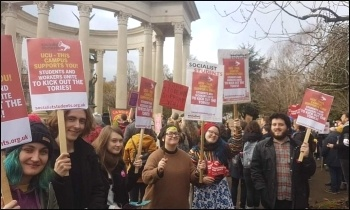 Cardiff Socialist Students supporting the University and College Union (UCU) strike, March 2020, photo Cardiff Socialist Students