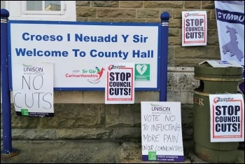 Council must stop doing the Tories' dirty work, photo by Socialist Party Wales