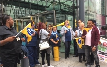 PCS BEIS picket line, July 2019, photo Paula Mitchell