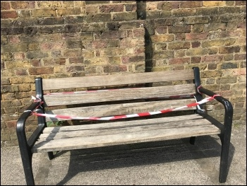 A closed bench, London, May 2020