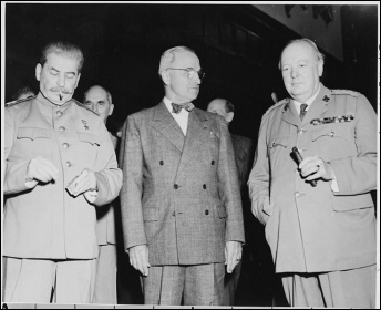 Russian leader Joseph Stalin, US president Harry Truman and British prime minister Winston Churchill in 1945 on the eve of the new 'Cold War' which rapidly emerged between US imperialism and the Soviet Union