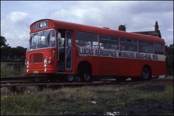 The prototype of the Lucas Aerospace workers' bus that could switch between rail and road, photo Gillett's Crossing/CC
