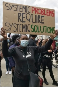 Black Lives Matter protester, June 2020, photo Judy Beishon