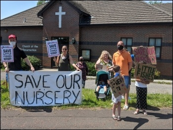 Fighting to save Little Fishes nursery in Cardiff June 2020, photo Cardiff SP