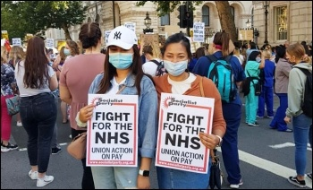 Socialist Party placards at a protest of healthcare workers in London  demanding a pay rise , photo Isai