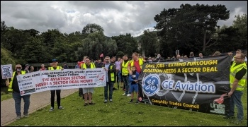 Workers marching to save job at GE Aviation in Nantgarw 1 August, photo SP Wales