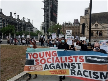 London protest organised by Young Socialists against the A-levels fiasco 15 August 2020, photo Mark Best