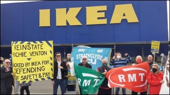 Protest in support of sacked rep Richie Venton outside Ikea Glasgow
