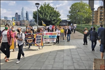 PCS union members at the Tate and Southbank march against redundancies, 12.9.20, photo by NSSN
