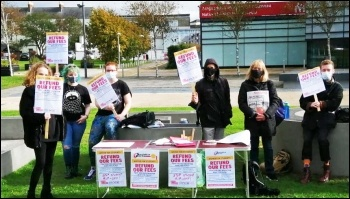 Swansea university students demanding a fees refund, October 2020