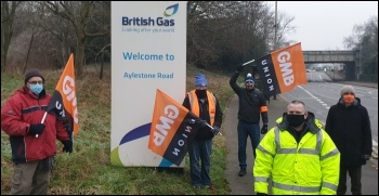 Leicester picket line of British Gas engineers, striking for five days to maintain their present working conditions and pay, 8 January 2021, photo Leicester SP