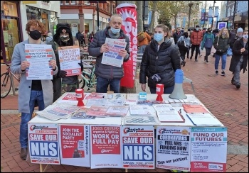 Campaigning in Reading in December 2020, photo Reading Socialist Party
