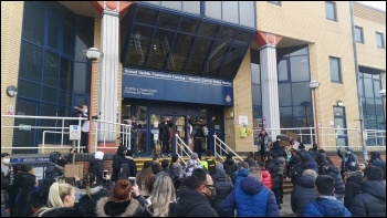 The protest march reaches Newport police station, photo Tom Fowler
