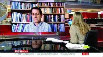 Martin Powell-Davis - Socialist Party member and candidate for NEU deputy general secretary demanding school safety on BBC news, 1 March