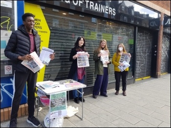 Socialist Party members and TUSC candidates, including Deji Olayinka and Thea Everett, Campaigning in South London. Photo: London SP