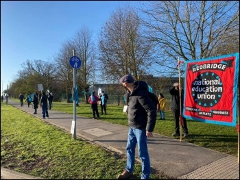 Picket line at Beal academy. Photo: Glenn Kelly
