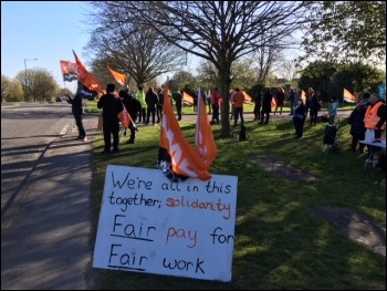 Bristol Water picket line April 2021, photo Roger Thomas