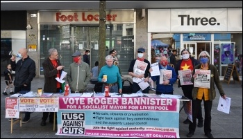 Socialist Party stall in Liverpool - campaigning for TUSC election candidates, 24.4.21, photo Mark Best
