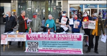 Socialist Party members campaigning for TUSC (Trade Unionist and Socialist Coalition) election candidates in Liverpool, 24.4.21, photo Mark Best