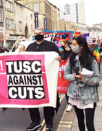 TUSC banner on the May Day demo in Bristol, 1.5.21, photo by Roger Thomas