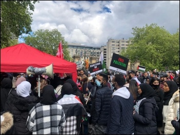 The crowd at the London Socialist Party gazebo. Photo: Theo Sharieff