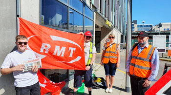 RMT picket at Nottingham station - East Midlands Railway dispute - Sunday 13th June, photo by G Freeman