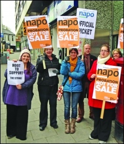 Probation workers on strike against privatisation in 2013 Photo: Paul Mattsson
