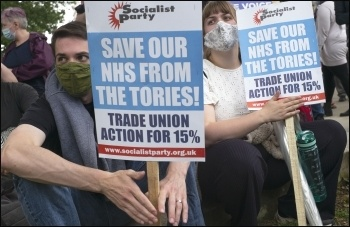 Socialist Party placards, London 3 July NHS march. Photo Paul Mattsson