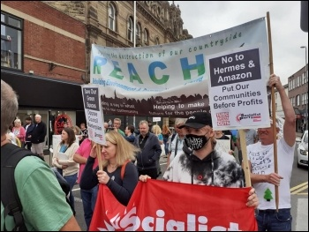 Socialist Party joined the protest in Barnsley