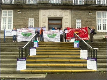 Carmarthenshire Unison at today's protest at Carmarthen County Hall as part of campaign for council to give them a Trade Union Recognition Agreement for Cwm Environmental