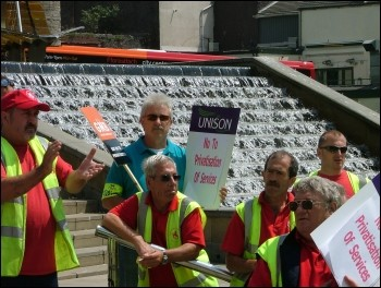 Swansea Unison workers protest against cuts and privatisation in Wales, photo Swansea Socialist Party
