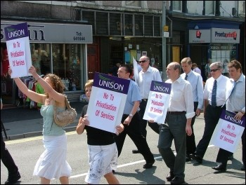 Swansea workers protest against cuts and privatisation in Wales, photo Swansea Socialist Party