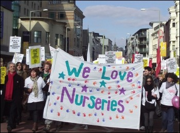 Brighton trades Council demonstration against cuts, led by the save Our Nursery campaign, photo P. Knight