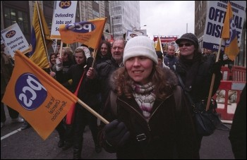 PCS demonstration through central London during two day strike, photo Paul Mattsson