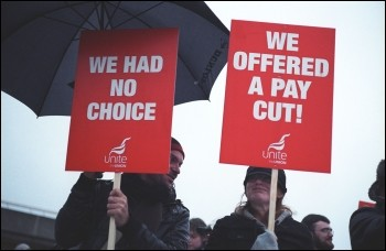 British Airways cabin crew on the picket line, photo Paul Mattsson