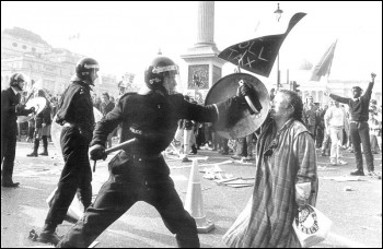 Policing during the anti-Poll Tax demonstration, 31 March 1990, photo Paul Mattsson