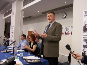 Dave Nellist at the TUSC Launch rally, London March 2010, photo Alison Hill
